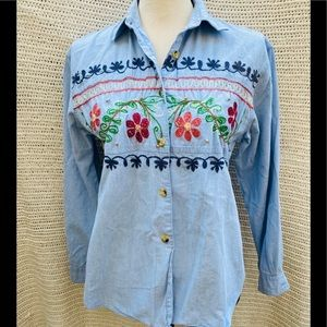 Vintage embroidered floral denim shirt
